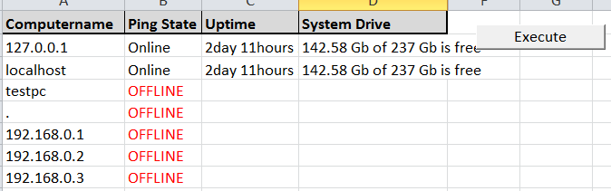 Script to check uptime and C Drive space on list of windows